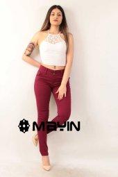 Vişne Çürüğü Renk Kadın Kot Pantolon Full Likralı