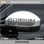 Seat Cordoba Ayna Kapağı Oto Sticker (2 Adet)