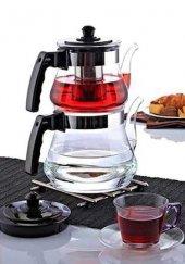 Cam Çaydanlık 3.6 Litre Paslanmaz Çelik Süzgeçli Ateşe Dayanıklı