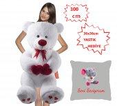 özgüner 100 Cm Beyaz Bobo Seni Seviyorum Fil Yastık Hediyeli