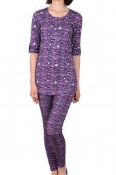 Kadın Tayt Pijama Takımı Kısa Kollu