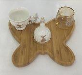 Tekli Porselen Mevlana Bambu Kelebek Tepsili Kahve Fincan Takımı