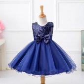 Kız Çocuk Özel Tasarım Kız Çocuk Lacivert Payetli Abiye Elbise Doğum Günü Party Elbisesi Düğün Elbisesi