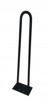 Retro U Tarz Nervurlu Demirden Rustik Firkete Masa Ve Sehpa Ayak Siyah 55 Cm