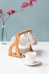 V Şeklinde Bambu 6lı Kahve Takımı