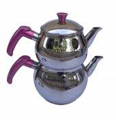 Orta Boy Küre Çelik Çaydanlık Takımı 3,1 Lt (1,2 + 1,9) Pembe