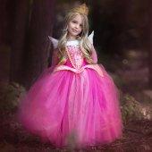 Kız Çocuk Prenses Aurora Uyuyan Güzel Elbise Aurora Kostüm Abiye
