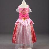 Kız Çocuk Pembe Askılı Elbise Prenses Aurora Kostümü Uyuyan Güzel Kostümü Taç Hediyeli 2 9 Yaş Arası
