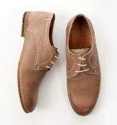 Deepsea Bej Gölge Desenli Bağcıklı Deri Ayakkabı 1701024