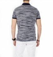Deepsea Lacivert Beyaz Kendinden Desenli Polo Yaka Kısa Kol Erkek T Shirt 1919114