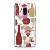 Samsung Galaxy S9 Plus Kılıf Silikon Arka Koruma Kapak Wine Desen