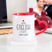 Kişiye Özel İngilizce Öğretmeni Kalpli Kupa Bardak Kırmızı