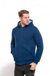 Içi Tüylü Kapüşonlu Feruarlı Mavi Erkek Sweatshirt