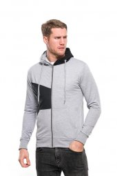 Aplike Yan Kumaş Fermuarlı Kapüşonlu Gri Erkek Sweatshirt