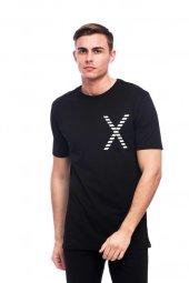 X Desen Detaylı Trend Siyah Erkek Tişört