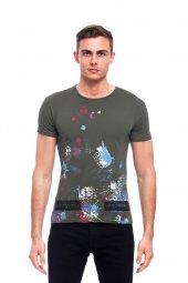 Sıçratma Renk Desen Efektli Haki Erkek Tişört