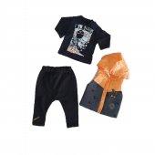 Erkek Bebek Şişme Yelekli Kapşonlu 6 18 Ay 3lü Takım Turuncu Siyah C71353