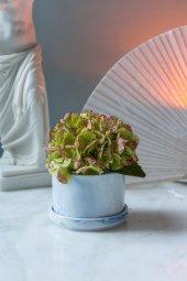 Mavi Mermer Desenli Yapay Çiçekli Vazo