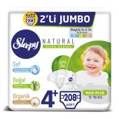 Sleepy Natural Bebek Bezi 4+ Beden Maxi Plus 4x2li Jumbo 208 Adet