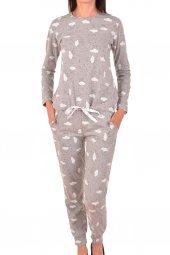Kadın Pijama Takımı Uzun Kollu Cepli Emprime