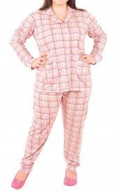 Kadın Pijama Takımı Uzun Kollu Düğmeli Büyük Beden