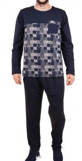 Erkek Pijama Takımı Uzun Kollu Diyagonal Jakarlı Cepli