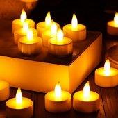 10 Adet Led Işıklı Mum Pilli Ateş Görünümünde Yana...
