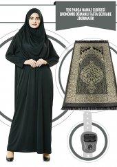 Tek Parça Namaz Elbisesi Siyah 5015 & Seccade & Zikirmatik Üçlü Takım 1121