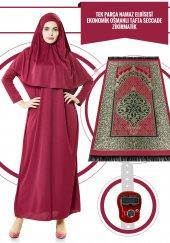 Tek Parça Namaz Elbisesi Mürdüm 5015 & Seccade & Zikirmatik Üçlü Takım 1120