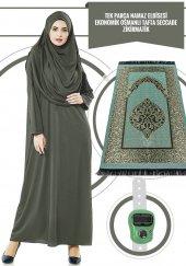 Tek Parça Namaz Elbisesi Haki 5015 & Seccade & Zikirmatik Üçlü Takım