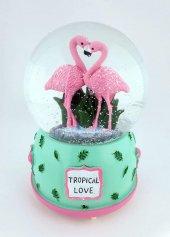 Tropical Love Flamingolar Müzikli Kurmalı Kar Küresi Büyük Boy Tu