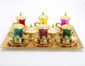 Renkli 6 Kişilik Çay Seti Gold