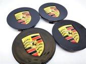 Porsche Siyah 62.5mm Jant Göbek Kapağı