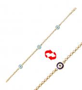 Gold Pera Sıralı Nazar Altın Bileklik 83347
