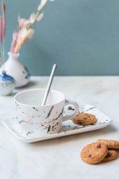 2li Beyaz Mermer Desenli Tabaklı Fincan Seti
