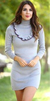 Yakası Fırfırlı Gri Triko Elbise