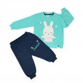 Kız Bebek Tavşan Modelli İkili Takım 9 24 Ay Turkuaz C74168