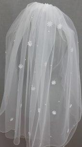 Beyaz Gelin Duvağı Lazer Kesim Çiçekli Hayal Tül 1 Mt Boy