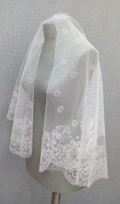 Beyaz Sim Baskılı Gelin Duvağı Adana Gelinlik Suzanna Moda