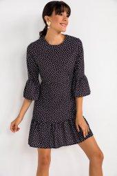 Liplipo Kol Ve Etek Ucu Volanlı Puantıyeli Saten Krep Elbise