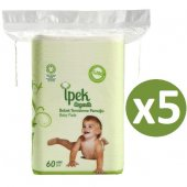 Ipek Organik Pamuk Bebek Temizleme Pamuğu 60lı X 5 Adet